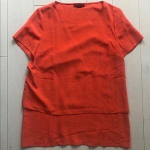 HUGO by HUGO BOSS silk double layer blouse orange